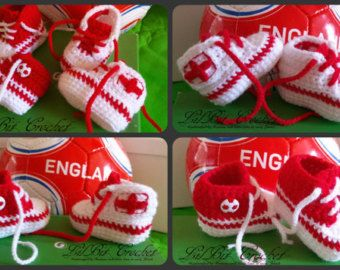 Hand Knitted / Crochet Baby England Football Trainers / High-Tops / Booties / Shoes / Sneakers