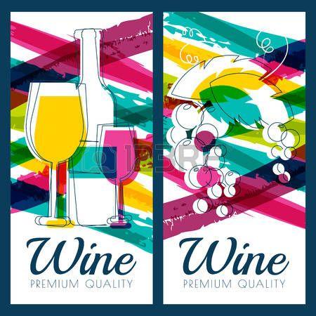 Illustrazione vettoriale di bottiglia di vino, di vetro, ramo di uva e strisce acquerello colorato sfondo. Concetto per carta dei vini, etichette, banner, men�, flyer, brochure modello di progettazione. photo
