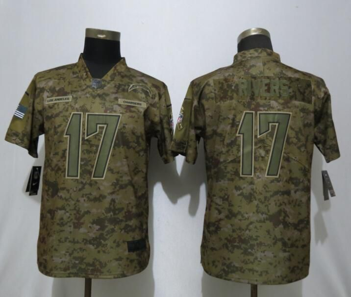 1599f0394a89 Women Los Angeles Chargers 17 Rivers Nike Camo Salute to Service Limited  NFL Jersey