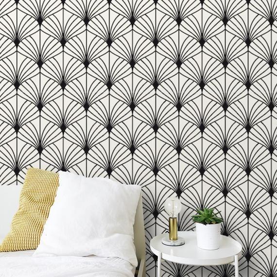 Peel And Stick Art Deco Wallpaper Black And White Modern Self Etsy Art Deco Wallpaper Temporary Wallpaper Black Wallpaper Bedroom