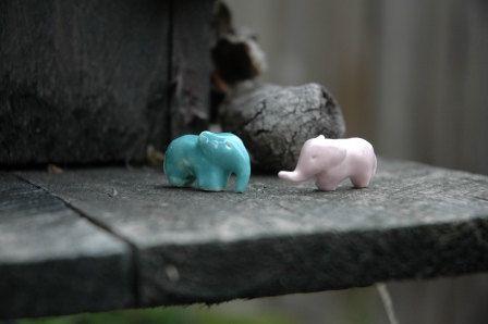 Blue & Pink Baby Elephants by SaSuDesigns $30