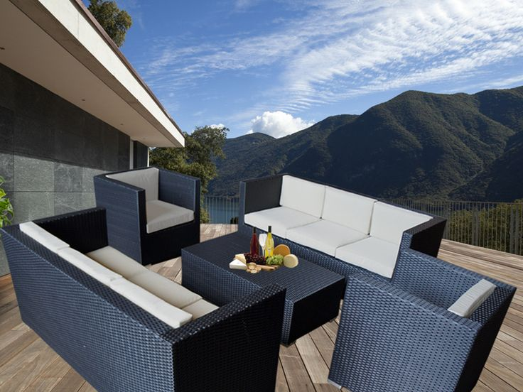 Black Bella 8 Seater Wicker Outdoor Furniture Lounge