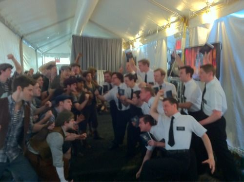 Newsies vs. Book of Mormon smackdown backstage of the Tony dress rehearsal *internal screaming*