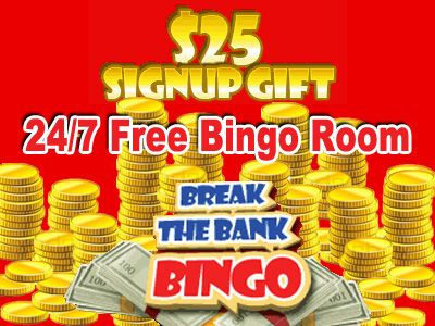 Click here to receive your $25 free on sign up, to try our games. USA welcomed http://www.breakthebankbingo.com