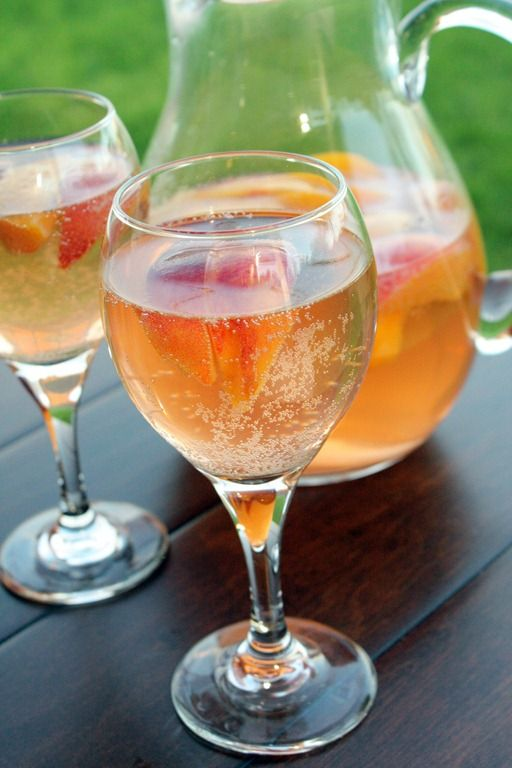 Sparkling White Peach Sangria  Ingredients:  1 (750 ml) bottle Riesling, or other white wine of your choice  4 peaches, cut into wedges (about 2 cups)  2 tablespoons sugar (optional)  1/2 cup peach vodka  1 (750 ml) bottle chilled  sparkling wine or champagne.
