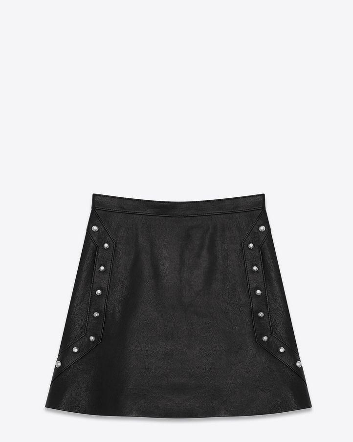 saintlaurent, Studded Mini Skirt in Black Leather