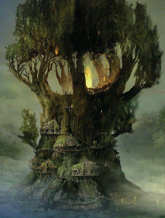 """Tykkään aika paljon tuosta puun """"pesän"""" rakentesta. Puu itsessään vähän ehkä leveä ja matala & asumukset toki pois, mutta todella majesteettinen rakenne!"""