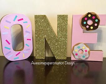 One,donut letters,paper mache,8inches,donut party decorations,donut first birthday,cake smash photo props,first birthday girl