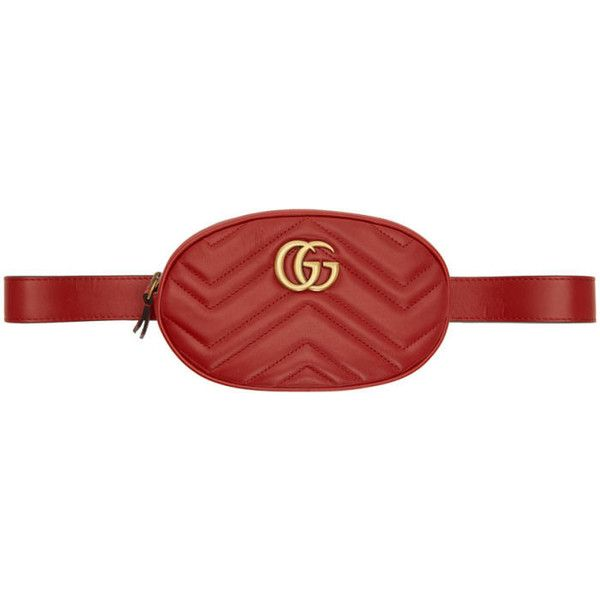 4b1e63528 Gucci Red GG Marmont 2.0 Belt Bag ($1,015) ❤ liked on Polyvore featuring  bags, red, zip pouch bags, fanny bag, belt pouch bag, waist bag and zip bag