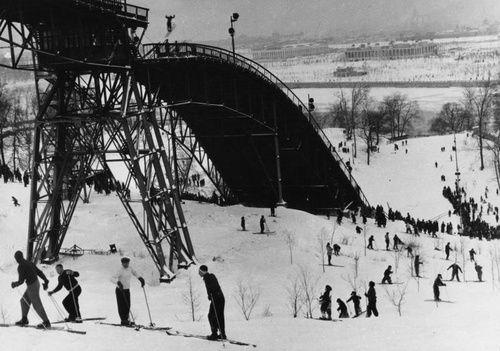 Ленинские горы. Лыжники, 1956 - 1957, г. Москва