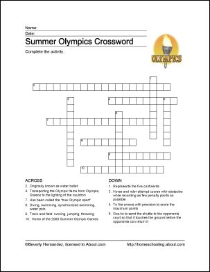 Summer Olympics Printables: Summer Olympics Crossword Puzzle