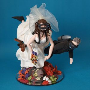 Scuba Diving Bride And Groom Wedding Cake Topper