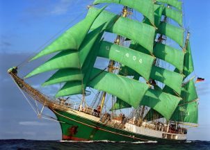 Alexander von Humboldt is famous for its distinctive green sails.