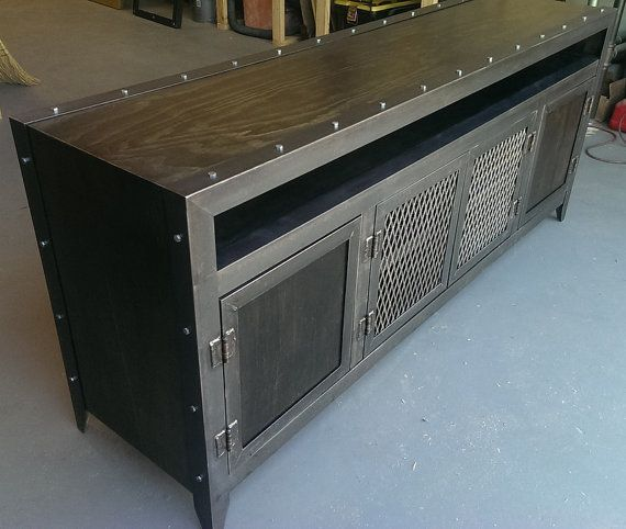 industrial steel and wood media console with by IndustEvo on Etsy, $1250.00