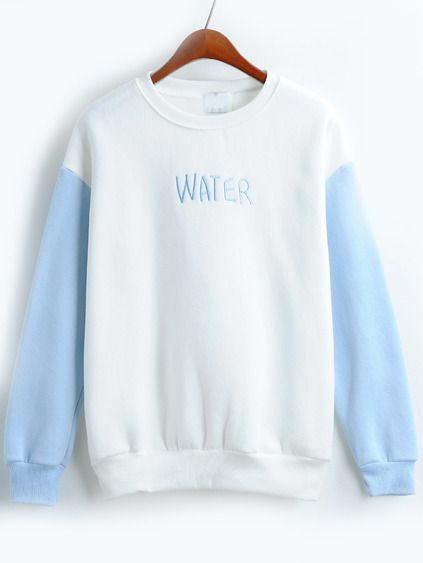 Letter Embroidered Loose Blue White Sweatshirt Mobile Site