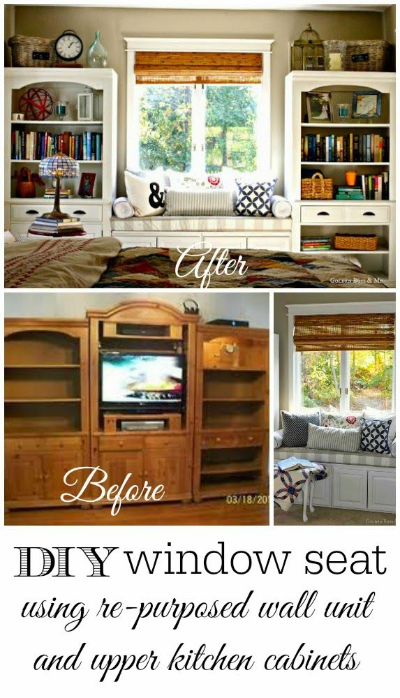 DIY window seat idea using re-purposed bookshelves and off the shelf kitchen cabinets from Lowes.  www.goldenboysandme.com