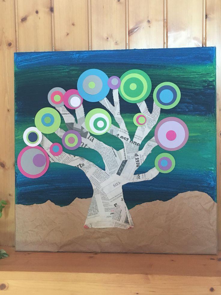 Un peu de peinture et du papier, et voilà un bel arbre fait à l'école...
