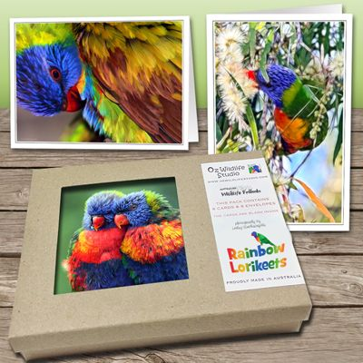 These folded cards are 4 x 6 inches and have been printed onto thick, glossy card stock with a border to allow for framing. They come as a set of 8 cards presented in a beautiful craft gift box.