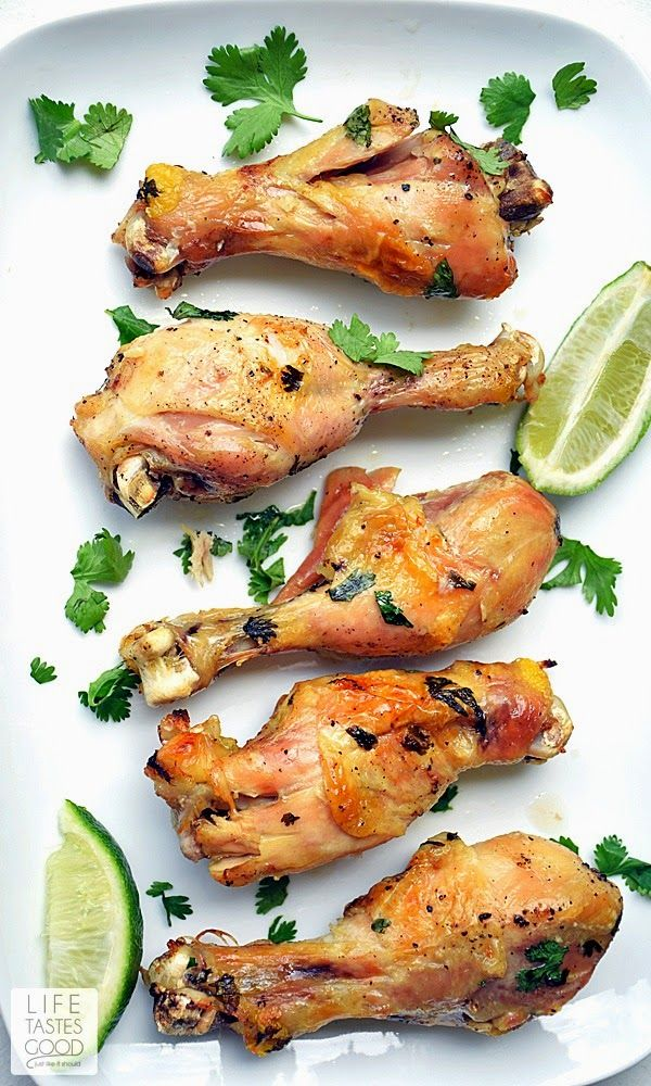 Slow Cooker Cilantro Lime Chicken packs a lot of flavor in an easy-to-make dinner. Fresh cilantro, lime, garlic, and chicken drumsticks cook just a few hours in the slow cooker. So simple, yet so tasty! #chickenrecipes #slowcookerrecipes #crockpot #easyrecipe