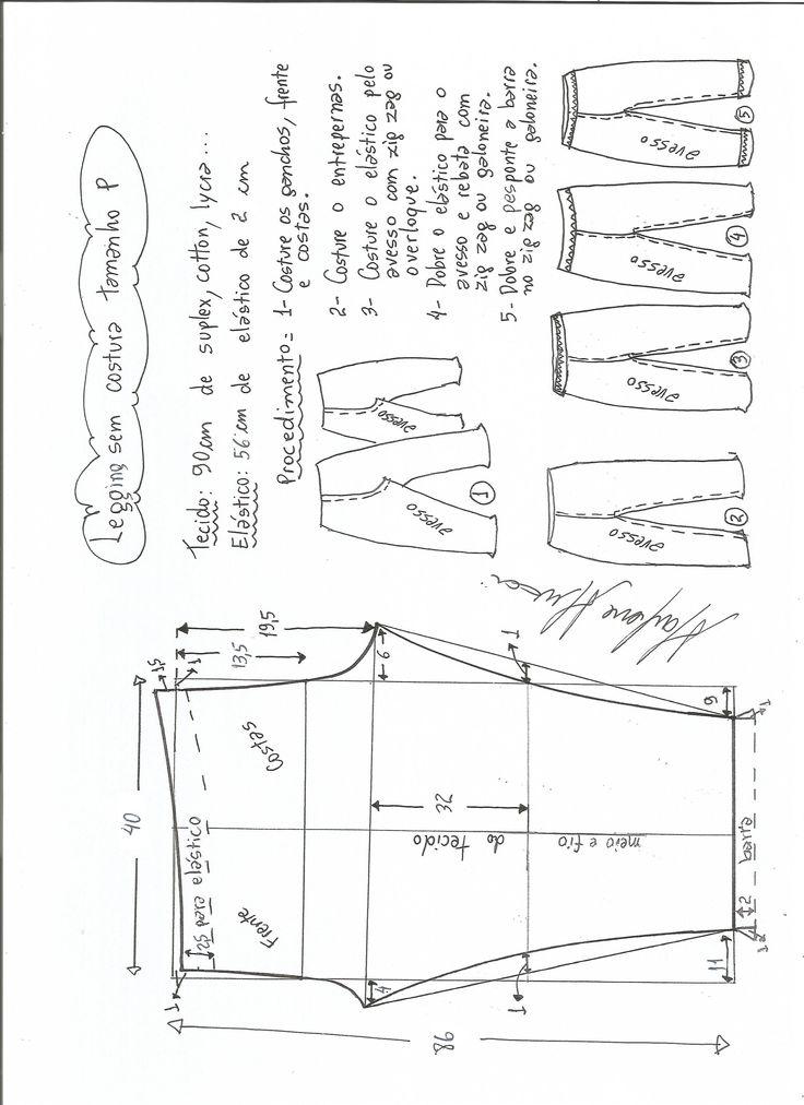 Esquema de modelagem de legging sem costura lateral P.