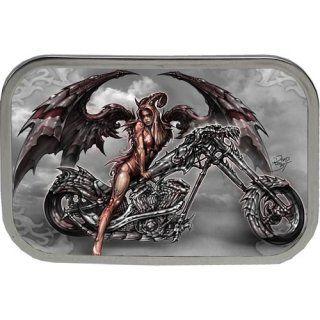 Boucle de ceinture rectangulaire avec ange de la mort sur moto chopper