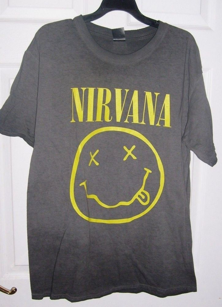 f53770c722b8 NIRVANA SMILEY FACE GRAY SIZE LARGE T SHIRT NEW  Spencers  GraphicTSHIRT