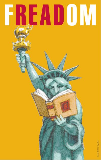 Celebrate Banned Books Week: Banned Books Week Posters, F Read Om, Statue Of Liberty, Books Freedom, Freadom, Book Week, Celebrate Freedom Week, Reading Books, Liberty Reading
