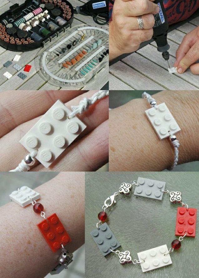 DIY: lego sieraden maken- DIY jewellery LEGO http://www.galerie-lucie.nl