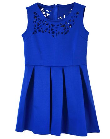 Blue Sleeveless Asymmetrical Hollow Pleated Dress
