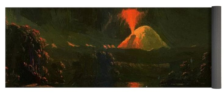 Mount Yoga Mat featuring the painting Mount St Helens Erupting At Night by Kane Paul