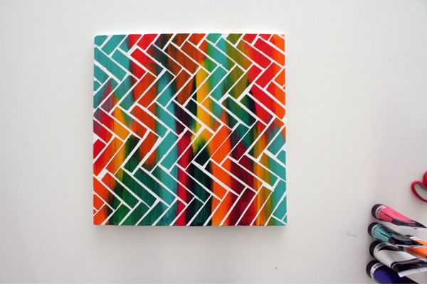 A fun and colorful way to make a little art for those walls.