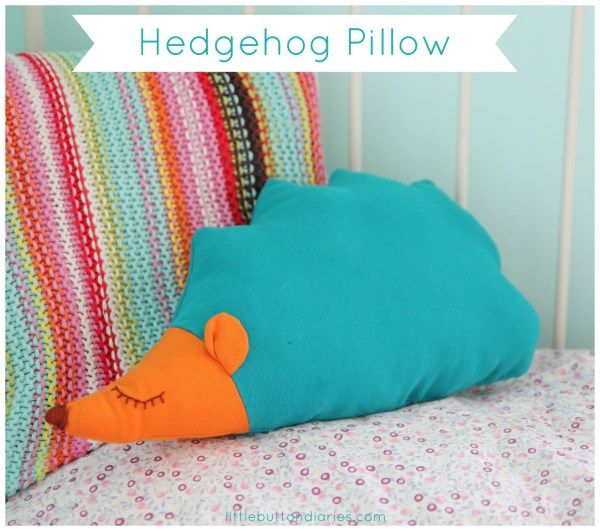 hedgehog pillow cushion tutorial by little button diaires #sewing #craft #kids