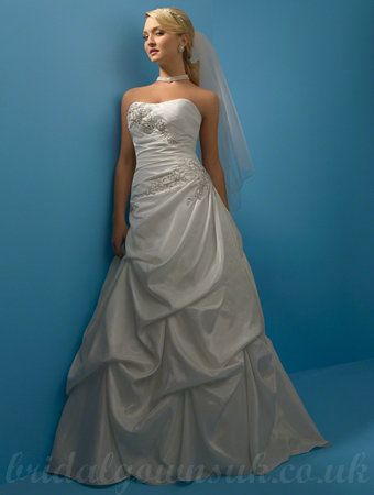 Taffeta Embroidery Rhinestones Beading Semi Cathedral Train Gorgeous Wedding Dress