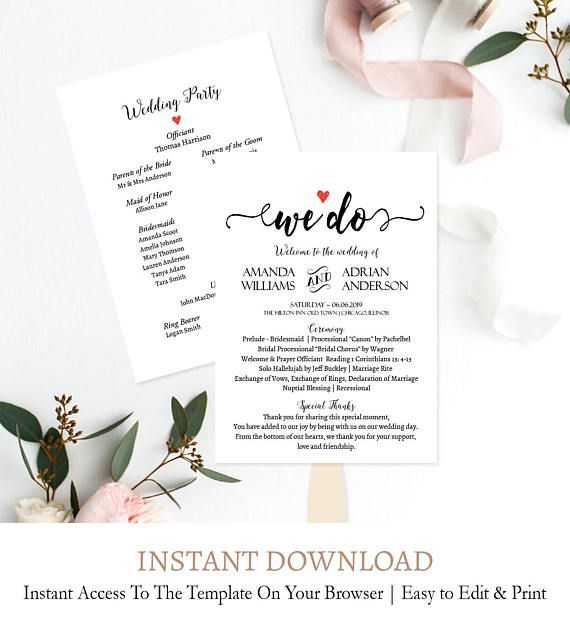 Simple Script Program Fan Template Elegant Script Wedding Etsy Printable Wedding Programs Wedding Program Fans Wedding Programs Template
