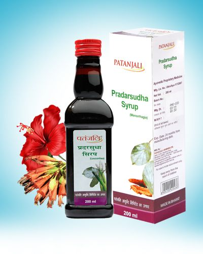 Pradarsudha Syrup (for Post Menopausal Syndrome) 200 ml. Ayurvedic Proprietary Medicine. Useful in Post Menopausal Syndrome. Dosage: Two table spoonful twice a day. Composition : Each 5 ml contains Soyabean (ext) (Glycine max) 60 mg, Ashwagandha (ext) (Withania somnifera) 48 mg, Jatamansi (ext) (Nardostachys jatamansi) 20 mg, Tagar (ext) (Valeriana wallichii) 12 mg. PRADARSUDHA SYRUP 200ml Price Rs.75