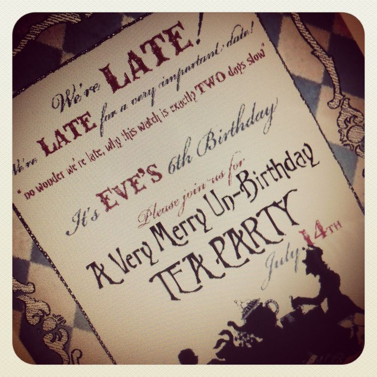 mad hatter teparty invitations pinterest%0A Our Alice in Wonderland Tea Party invitations designed by The Little  Shindig Company