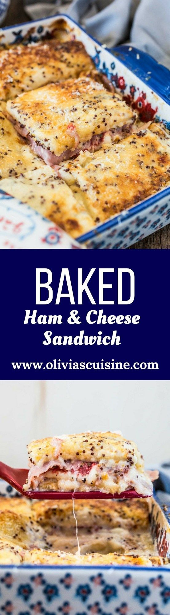 Brazilian Baked Ham and Cheese Sandwich | http://www.oliviascuisine.com | Who can resist a bubbly Baked Ham and Cheese Sandwich coming hot out of the oven? This Brazilian version takes it up a notch, because the sandwiches are covered with a delicious and creamy mustard-y white sauce. Simply to die for! @PepperidgeFarm #SandwichWithTheBest #ad