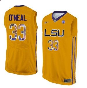 LSU Tigers #33 Shaquille O'Neal Gold With Portrait Print College Basketball Jersey