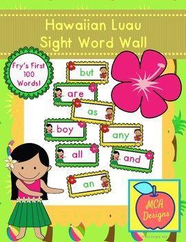 hawaiian luau sight word wall fry s first 100 words fall sight