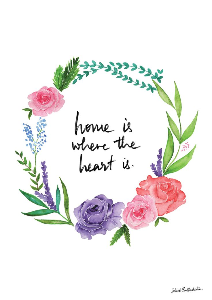 Home is where the heart is Typography quote art circle flower border watercolor