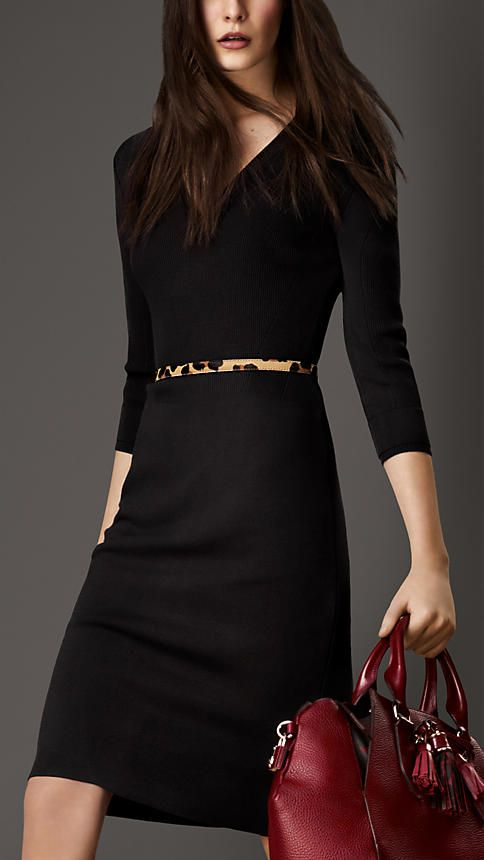 Burberry London, Knitted V-Neck Pencil Dress. (LBD with leopard belt)