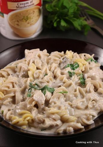 Cream of Mushroom and Chicken Pasta – Quick Fix meal   Cooking with Thas