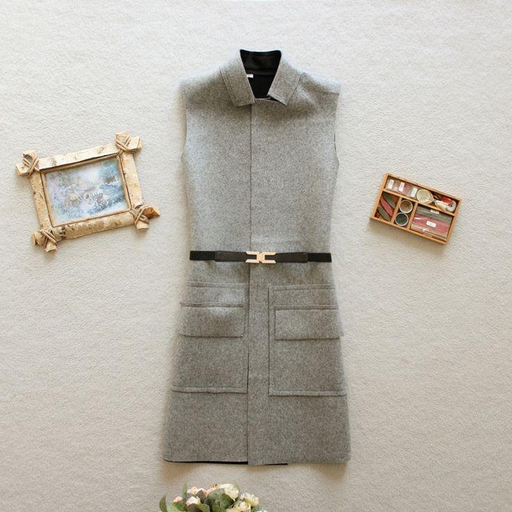 Длинные шерстяные ткани в осень/зима жилет жилет жилеты рукавов пальто к 2015 году положить новое платье корейский волны