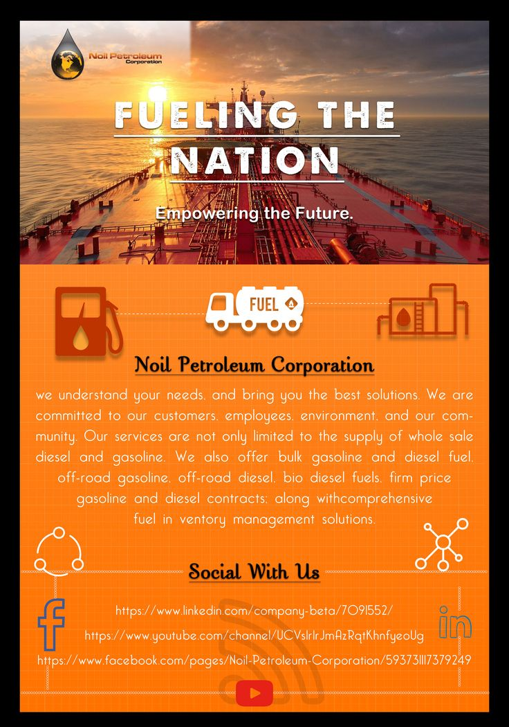 At Noil Petroleum Corporation, we understand your needs, and bring you the best solutions. We are committed to our customers, employees, environment, and our community.Our services are not only limited to the supply of wholesale diesel and gasoline. We also offer bulk gasoline and diesel fuel, off-road gasoline, off-road diesel, bio diesel fuels, firm price gasoline and diesel contracts; along with comprehensive fuel inventory management solutions.  Website: https://www.noilcorp.com