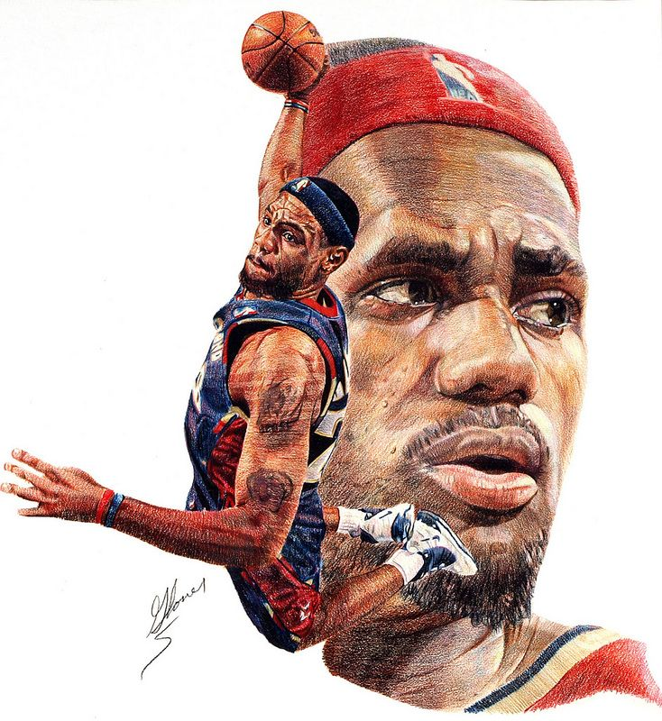 LeBron James, color pencil art by Matthew Glover