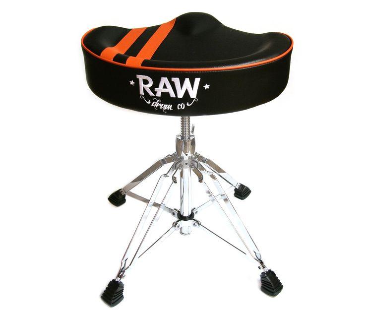 RAW 'Steve McQueen' Stripe Top Black Drum Throne, 4-Legs http://www.drumshop.co.uk/collections/drum-thrones/products/raw-steve-mcqueen-black-stripe-top-drum-throne-4-legs