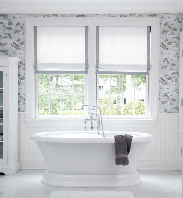 shades bathroom furniture uk%0A Freestanding Tub infront of Windows with Simple Roman Shades