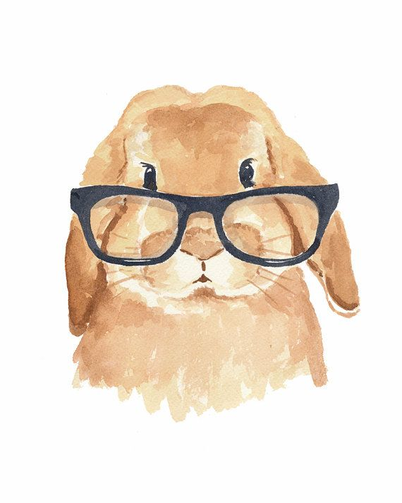 Rabbit Watercolor Print - Bunny Rabbit, Hipster Glasses, 8x10 PRINT