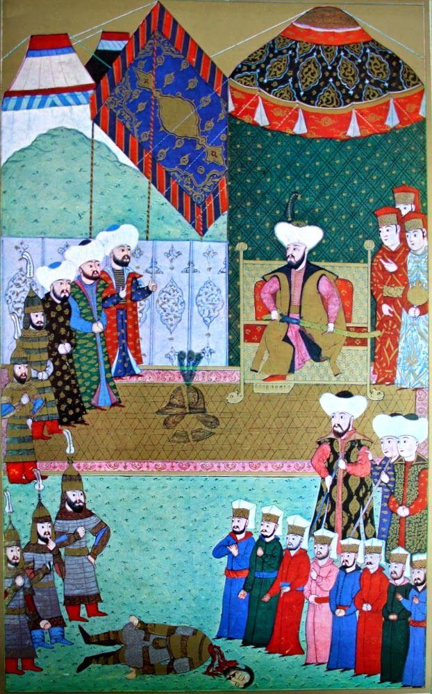 """Hünername'den nakkaş Osman çizimi ile """"Macar kahramanı ve kral naibi Hunyadi Janos'un çelik miğferinin 2. Murad tarafından kılıç darbesiyle parçalanması."""" minyatürü."""