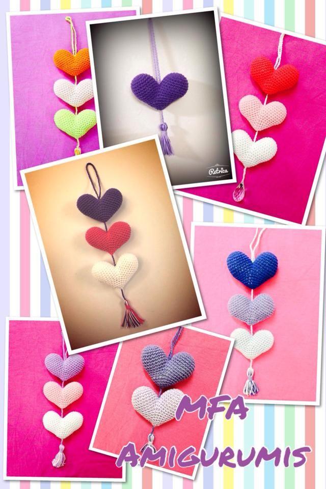 Colgantes de corazones www.facebook.com/MFAAmigurumis